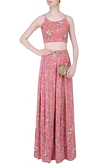 Pink Floral Strappy Crop Top with Palazzo Pants by Mishru