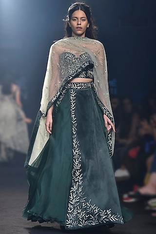 Deep Green Embroidered Panelled Lehenga Set by Mishru