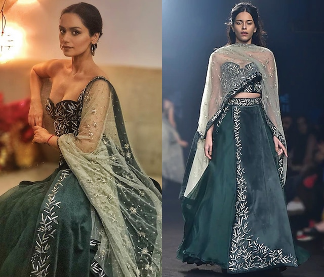 Deep Green Embroidered Panelled Lehenga Set by Mishru