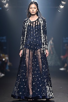 Navy Blue Embroidered Gown with Jacket by Mishru