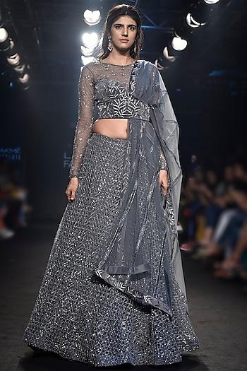 Grey Embroidered Lehenga Set by Mishru