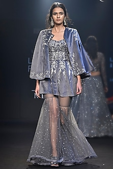Grey Embroidered Peplum with Sharara Pants and Cape by Mishru