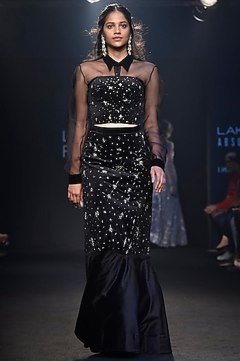 Black Embroidered Bustier with Lehenga Skirt and Sheer Shirt by Mishru