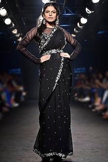 Black Embroidered Saree with Ruched Top and Belt by Mishru
