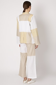 Beige Oversized Patchwork Blazer by House of Sohn