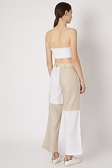 Beige Ankle Length Patchwork Pants by House of Sohn