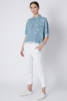 Powder Blue Handwoven Shirt by House of Sohn