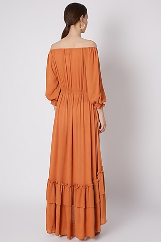 Orange Off-Shoulder Ruffled Dress by House of Sohn