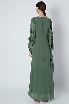 Green Handwoven Ruffled Dress by House of Sohn