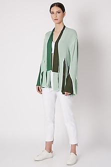 Mint Green Handwoven Layered Jacket by House of Sohn