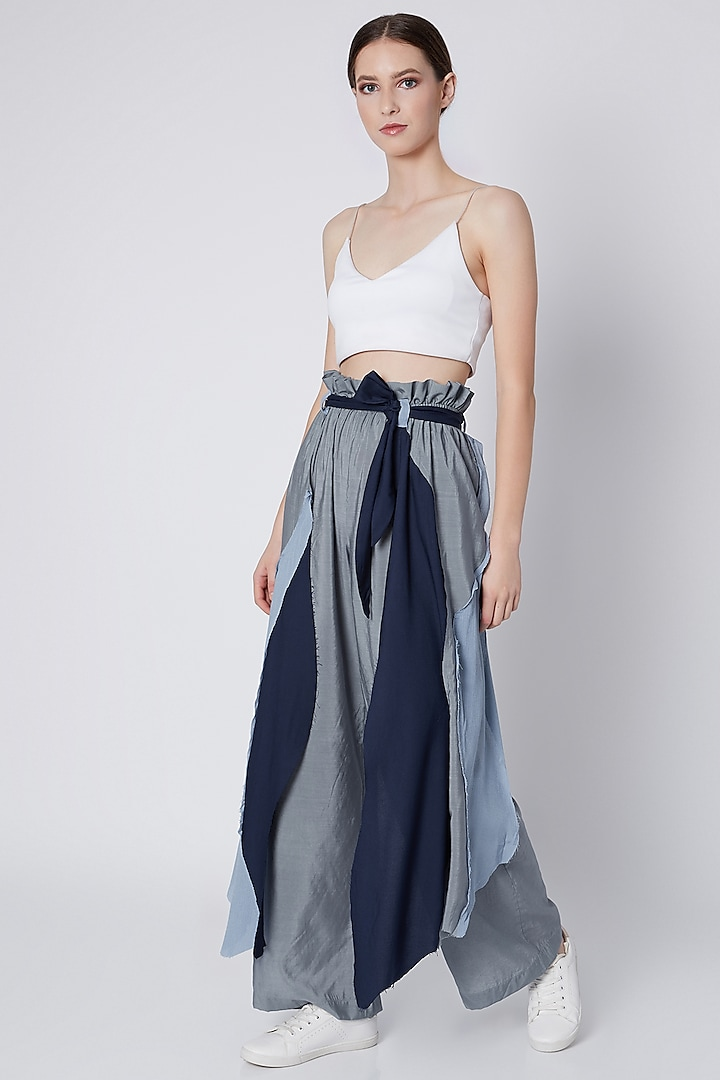Cobalt Blue Tri-Layered Handwoven Pants by House of Sohn