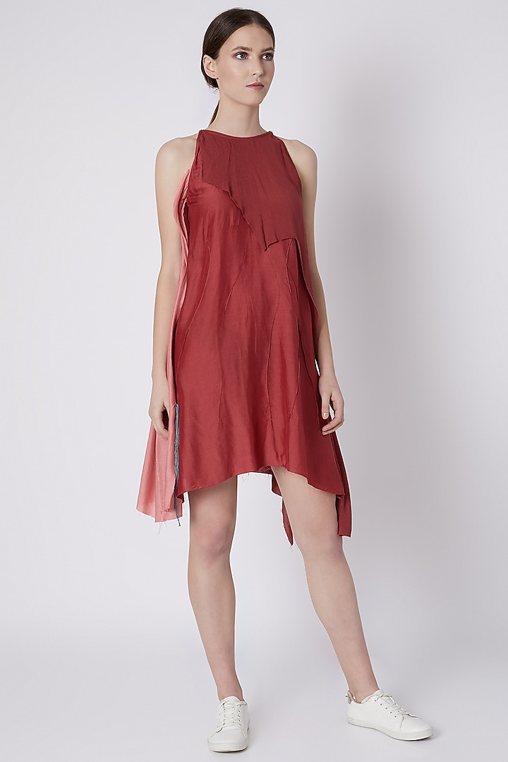 Red Handwoven Dress With Assymetrical Hemline by House of Sohn