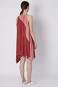 Fuchsia Handwoven Dress With Assymetrical Hemline by House of Sohn