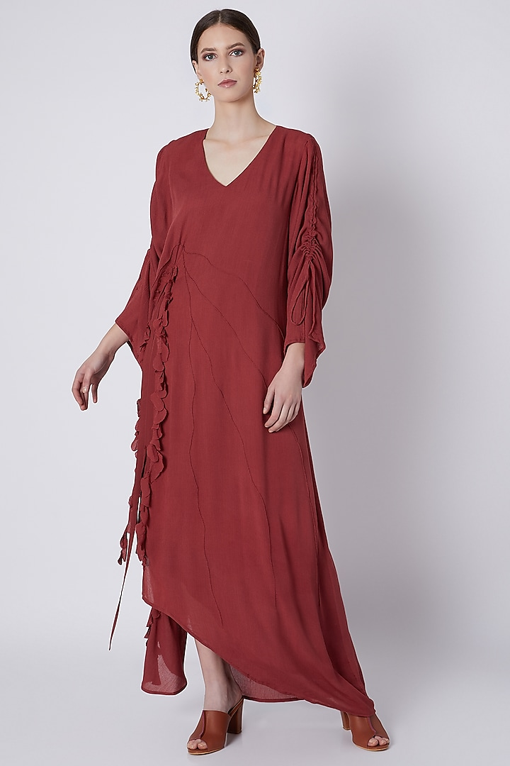 Red Handwoven Ruffle Dress by House of Sohn