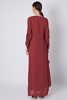Fuchsia Handwoven Ruffle Dress by House of Sohn