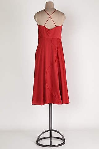 Red Cotton Midi Dress by House Of Sohn