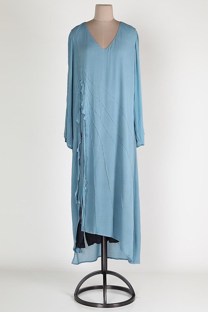 Powder Blue Cotton Midi dress by House Of Sohn