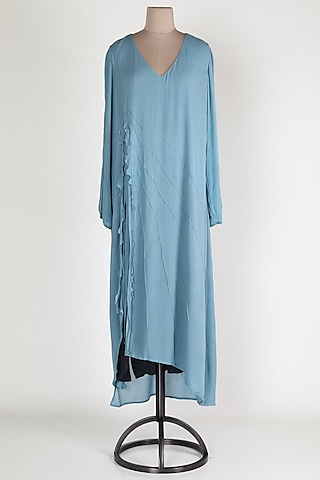 Powder Blue Cotton Midi dress by House Of Sohn