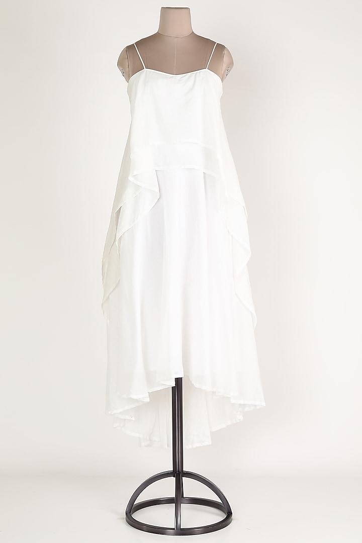 White Layered Midi Dress by House Of Sohn