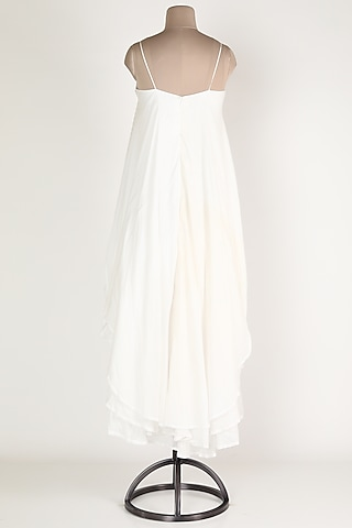 White Layered Midi Dress by House Of Sohn