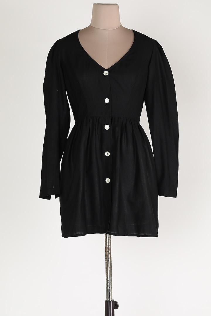 Black Linen Midi Dress by House Of Sohn