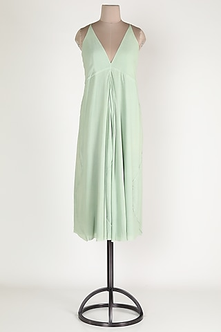 Mint Green Cotton Feather Dress by House Of Sohn