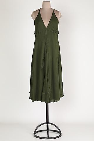 Dark Green Cotton Midi Dress by House Of Sohn