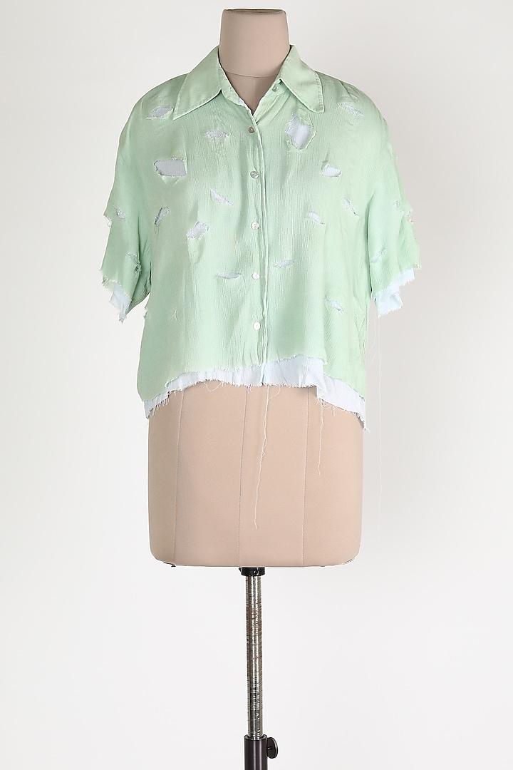 Mint Green Cotton Shirt by House Of Sohn
