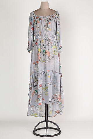 Purple Crepe Printed Midi Dress by House Of Sohn