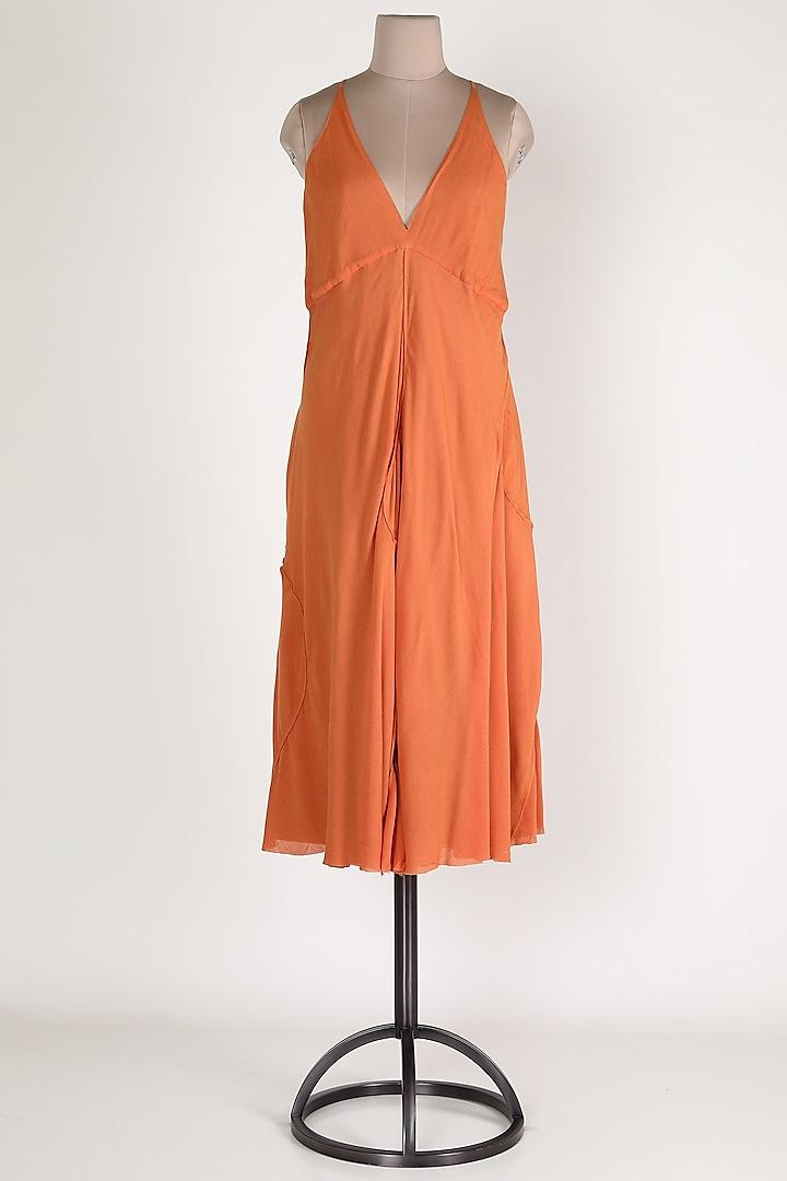 Orange Cotton Maxi Dress by House Of Sohn