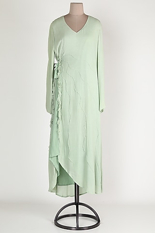 Mint Green Cotton Midi Dress by House Of Sohn