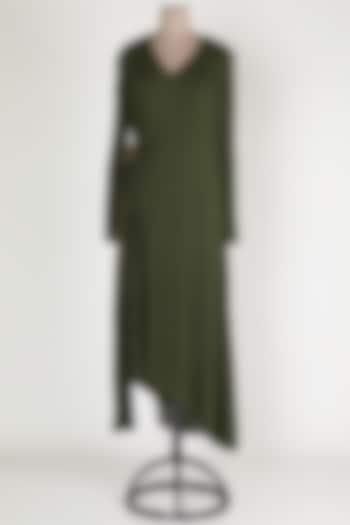 Dark Green Midi Dress by House Of Sohn