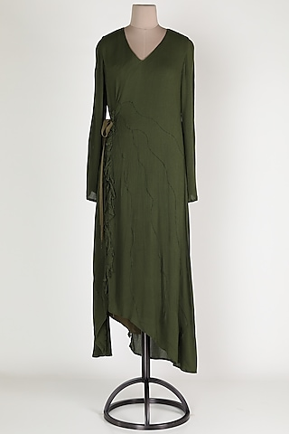 Dark Green Midi Dress by House Of Sohn