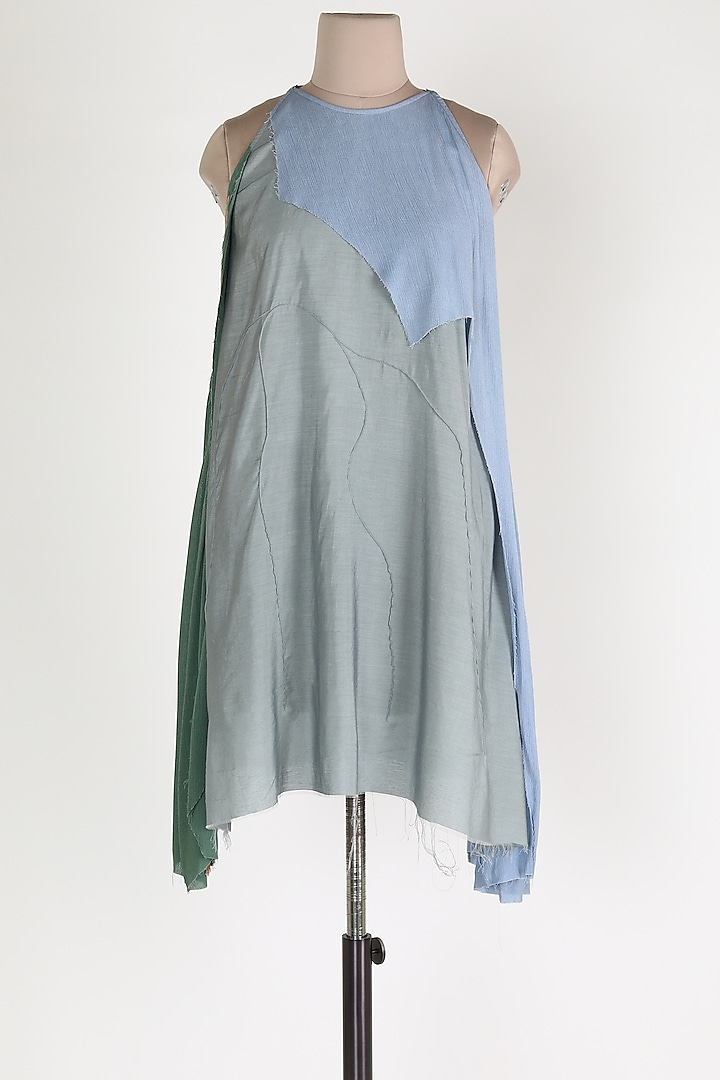 Grey & Blue Midi Dress by House Of Sohn