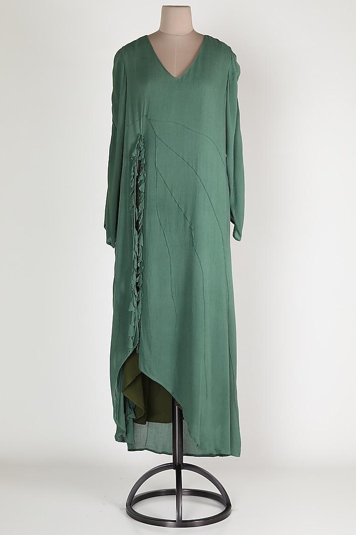 Green Cotton Maxi Dress by House Of Sohn
