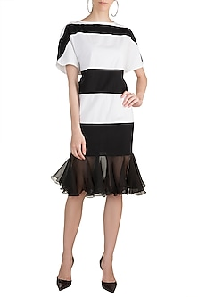 White Monochrome Shift Dress by House of Sohn