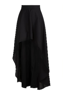 Black Monochrome High-Low Skirt by House of Sohn