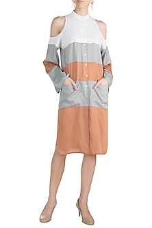 Blush Pink Cold Shoulder Shirt Dress by House of Sohn