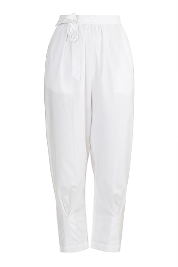 White Elasticated Tie-Up Pants by House of Sohn