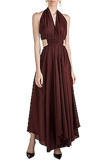 Wine High-Low Halter Dress by House of Sohn