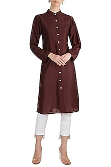 Wine Chinese Collared Shirt Dress by House of Sohn