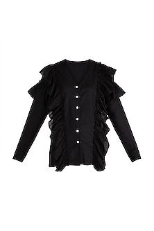 Black Button Down Ruffle Shirt by House of Sohn
