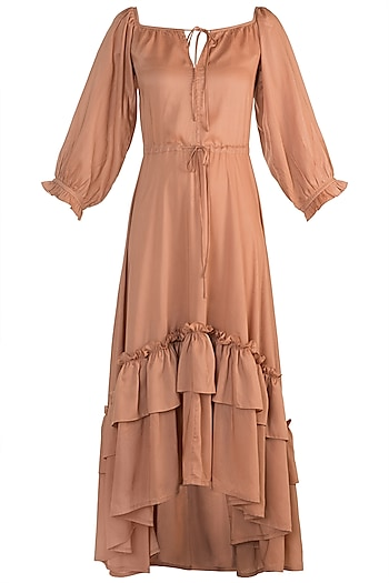 Blush Pink Tiered Ruffled Dress by House of Sohn
