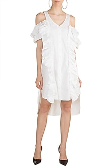 White Cold Shoulder Ruffled Dress by House of Sohn