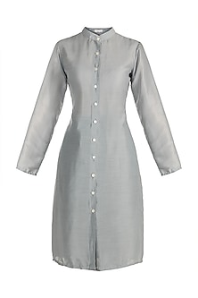 Sky Blue Chinese Collared Shirt dress by House of Sohn