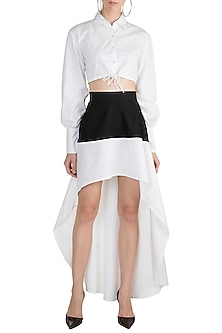 White Drawstring Crop Top by House of Sohn