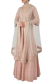 Salmon Pink Embroidered Anarkali Set by Himani And Anjali Shah