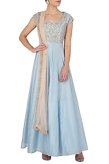 Powder Blue Embellished Anarkali Set by Himani And Anjali Shah