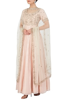 Salmon Pink Embellished Anarkali Set by Himani And Anjali Shah