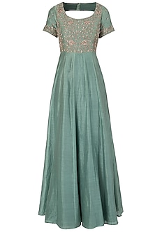 Sea Green Embroidered Anarkali Set by Himani And Anjali Shah